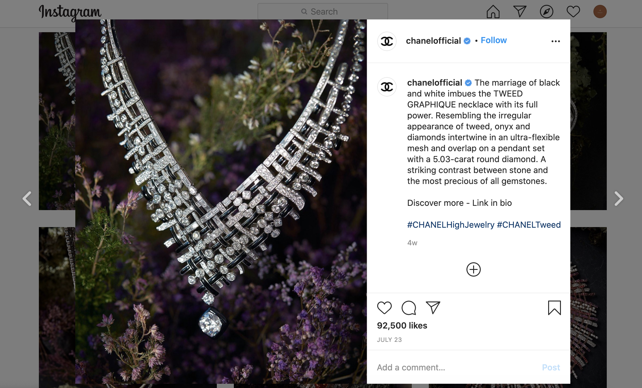 luxury brand marketing for jewelry - instagram